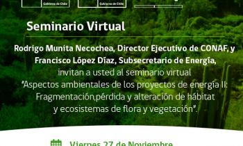 """Seminario conaf-energía: """"aspectos ambientales de los proyectos de energía ii: fragmentación, pérdida y alteración de hábitat y ecosistemas de flora y vegetación"""""""
